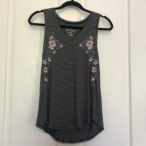 American Eagle Soft and Sexy Striped Floral Tank